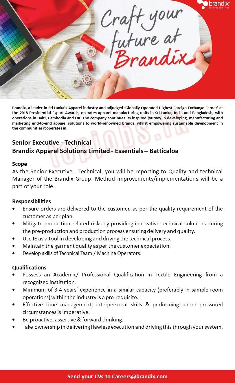 Senior Executive - Technical (Batticaloa) (1) Jobs in Sri