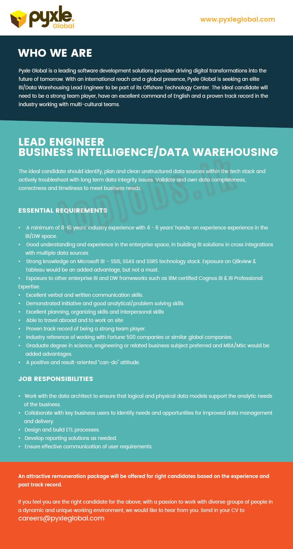 vacancy advertisement lead engineer business intelligence data warehousing