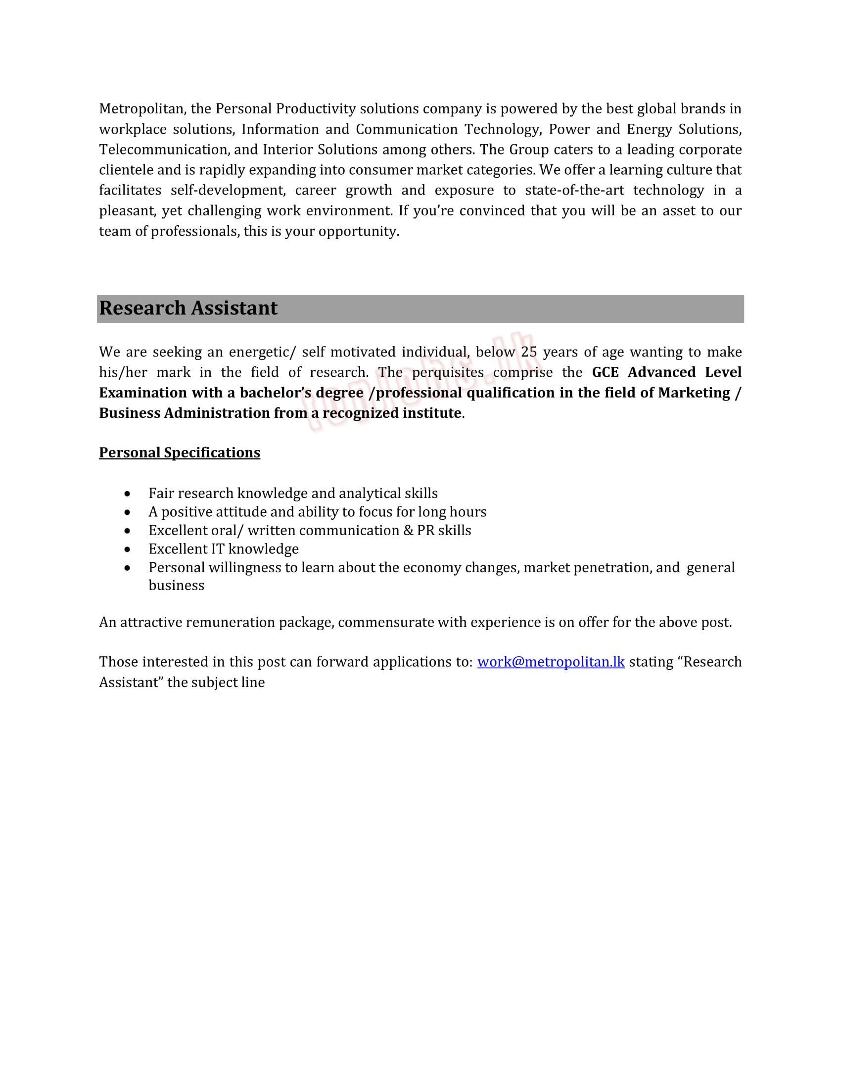 Research Assistant (1) Jobs in Sri Lanka - 0 yrs @Metropolitan Group