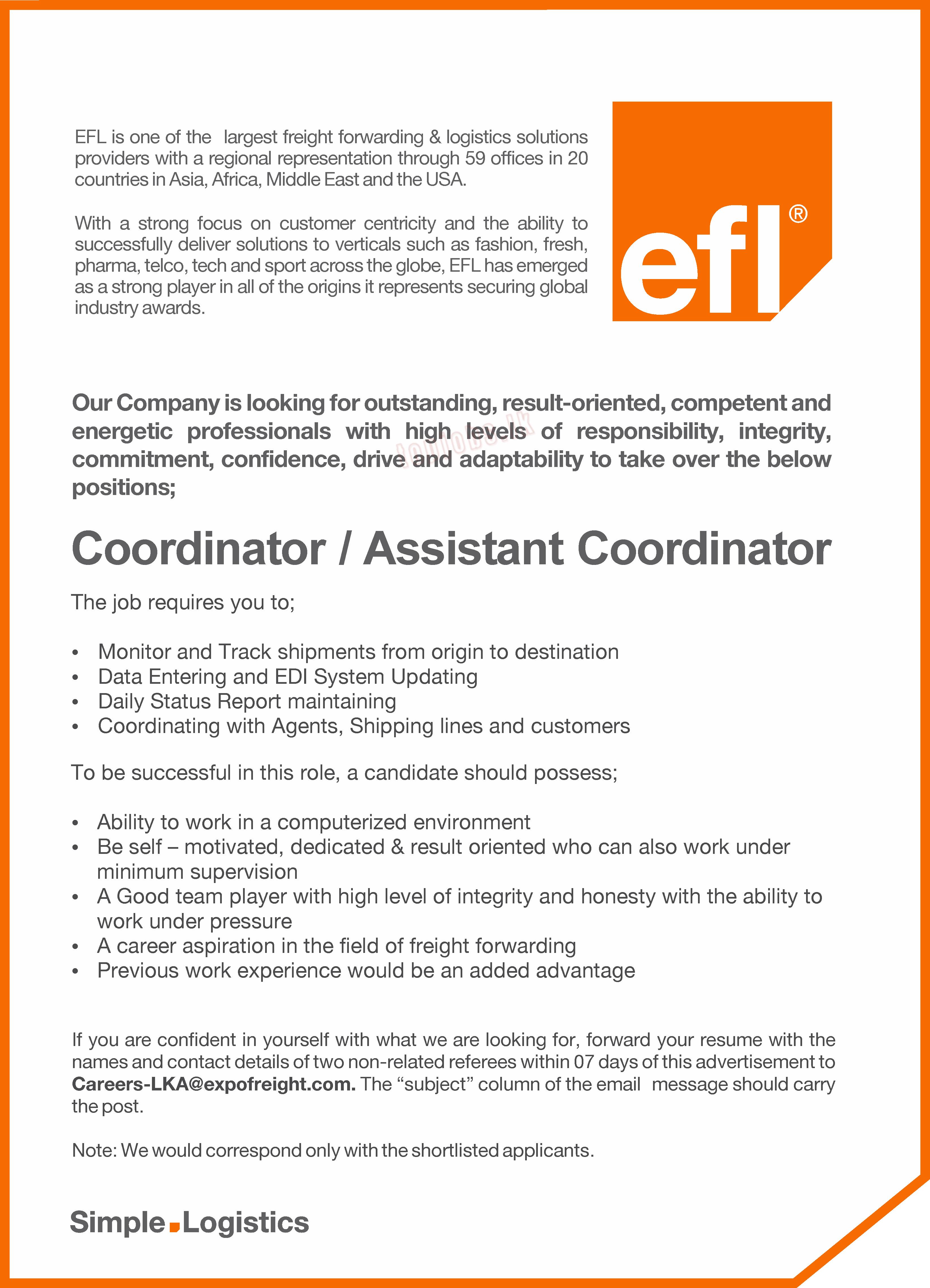 vacancy advertisement coordinator assistant coordinator