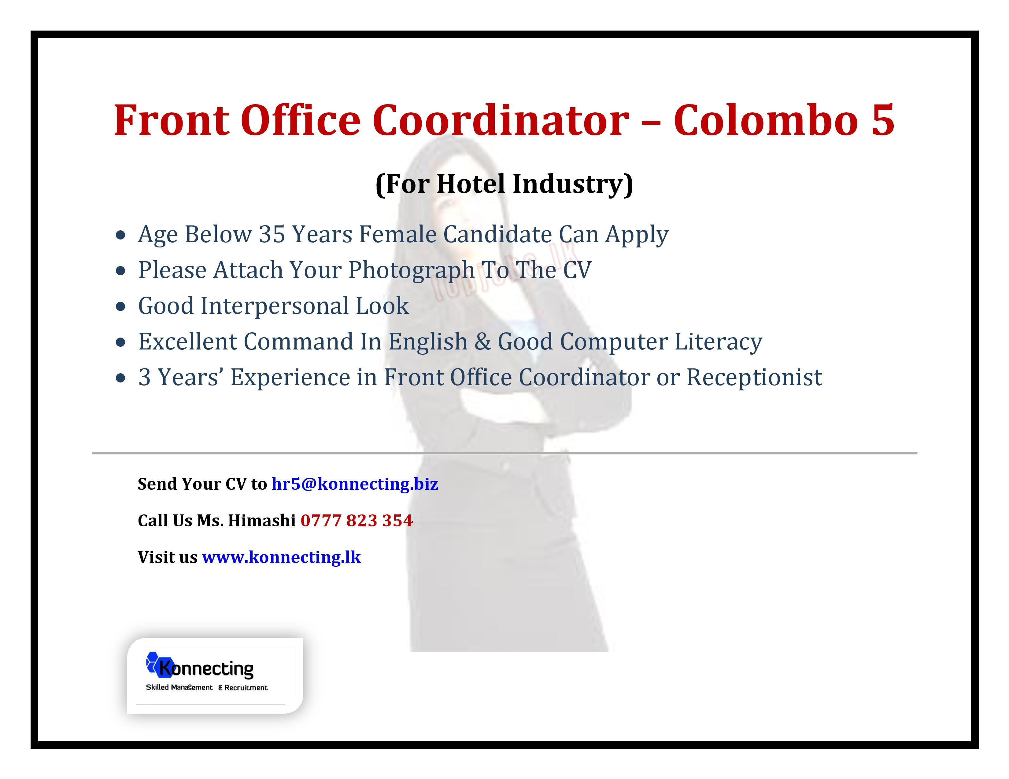 vacancy advertisement front office coordinator colombo 5 for hotel industry